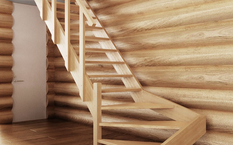 Поворотная лестница «Эконом» из светлого соснового дерева (вид спереди)