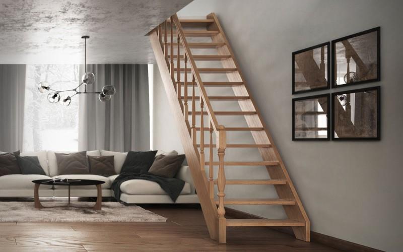 Прямая тяжеловесная лестница «Элит» с резным поручнем.