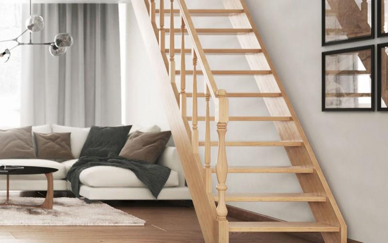 Степени тяжеловесной лестницы «Элит» с резным поручнем.