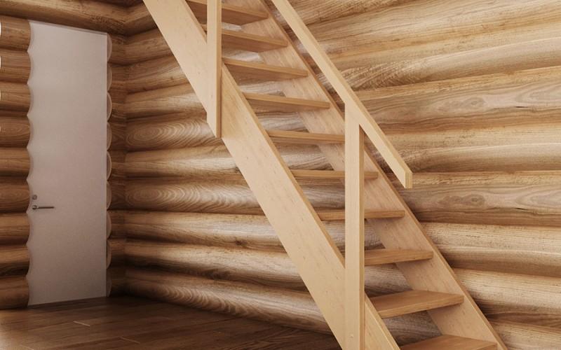 Прямая маршевая лестница «Форвард» с поручнем (вид сбоку)