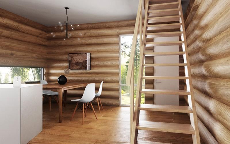 Прямая маршевая лестница «Форвард» с поручнем (вид спереди)