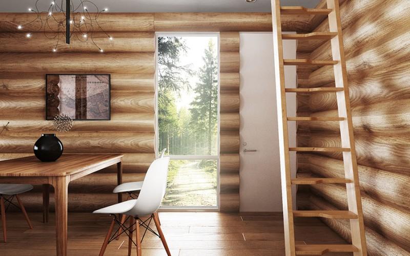Прямая лестница «Гусиный шаг» из сосны (вид спереди)