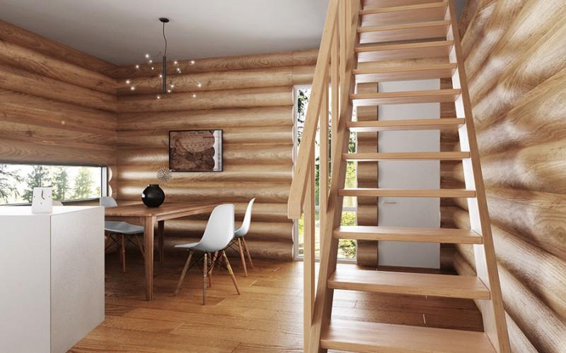 Прямая маршевая лестница «Прагматик» из светлого дерева (вид спереди)