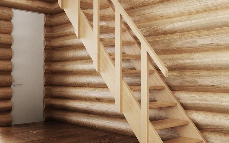 Прямая маршевая лестница «Прагматик» из светлого дерева (вид сбоку)